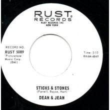 """DEAN & JEAN """"STICKS & STONES/IN MY WAY"""" 7"""""""