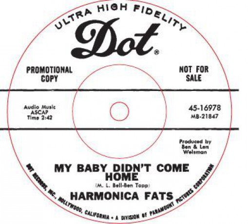"HARMONICA FATS ""MY BABY DIDN'T COME HOME LAST NIGHT/ DRIVE WAY BLUES"" 7"""