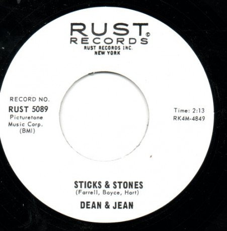 "DEAN & JEAN ""STICKS & STONES/IN MY WAY"" 7"""