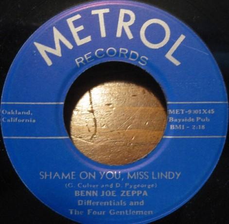 "Benn Joe Zeppa w/Differentials & Four Gentlemen ""Terry Lou/Shame On You, Miss Lindy"" 7"""