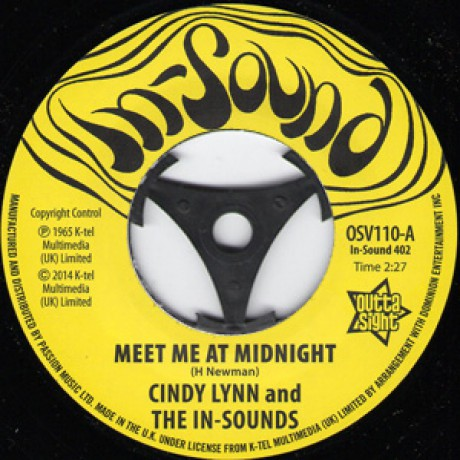 """CINDY LYNN & THE IN-SOUNDS """"Meet Me At Midnight""""/ BONNIE & CLYDE """"I Get A Feeling"""" 7"""""""