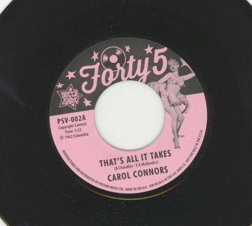 "CAROL CONNORS ""THAT'S ALL IT TAKES"" 7"""