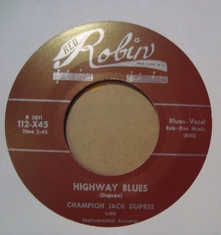 "CHAMPION JACK DUPREE ""SHAKE BABY SHAKE / HIGHWAY BLUES"" 7"""