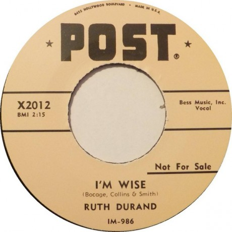 """RUTH DURAND """"I'M WISE/TIN CAN ALLEY"""" 7"""""""