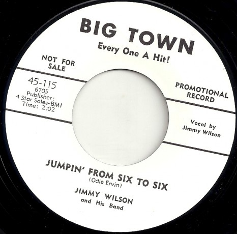"""JIMMY WILSON """"JUMPIN' FROM SIX TO SIX/ OH! RED"""" 7"""""""