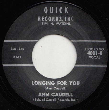 "ANN CAUDELL ""LONGING FOR YOU/ I'M STARRY EYED"" 7"""
