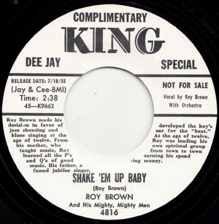 """ROY BROWN """"SHAKE 'EM UP BABY / LETTER TO BABY"""" 7"""""""