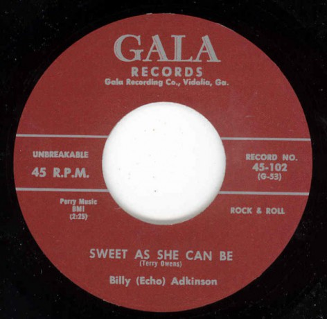 "Billy Adkinson ""Sugar Lump / Sweet As She Can Be"" 7"""
