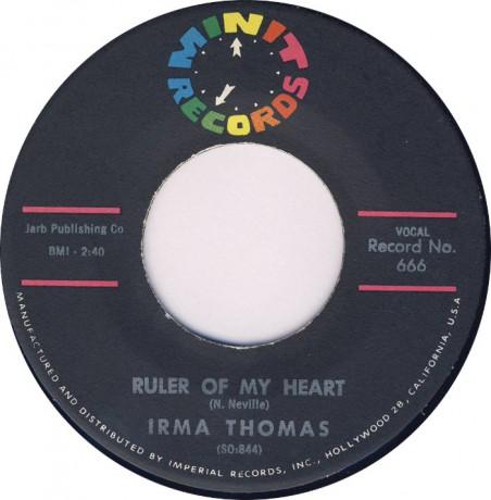 """IRMA THOMAS """"Ruler Of My Heart / Hittin' On Nothin'"""" 7"""""""