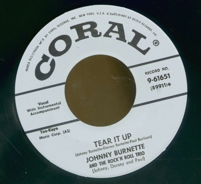"Johnny Burnette ""Tear It Up / Oh Baby Babe"" 7"""