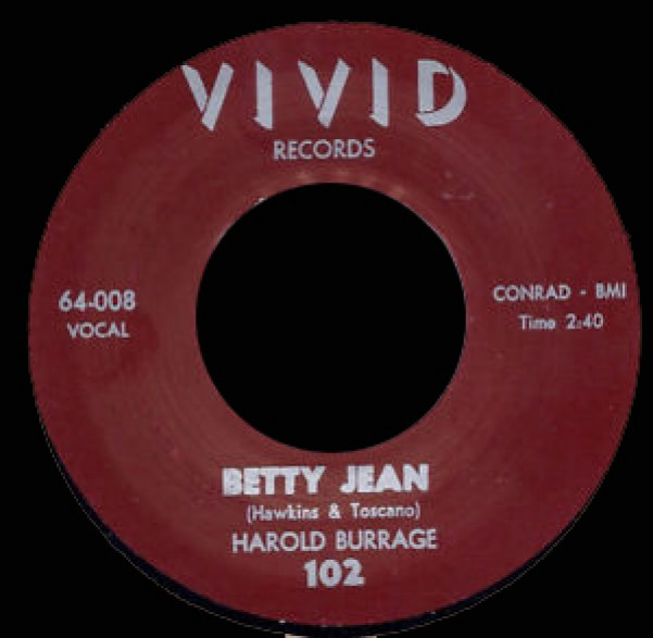 """HAROLD BURRAGE """"BETTY JEAN / I CRY FOR YOU"""" 7"""""""