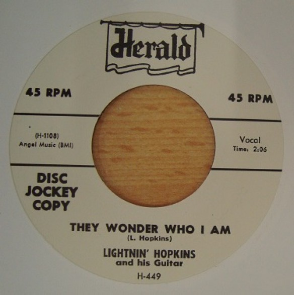 "LIGHTNIN' HOPKINS ""FINALLY MET MY BABY / THEY WONDER WHO I AM"" 7"""
