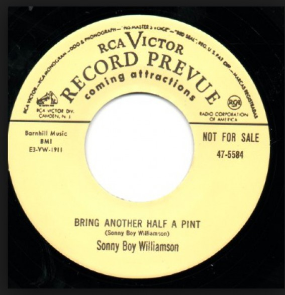 "SONNY BOY WILLIAMSON / SQUARE WALTON ""BRING ANOTHER HALF PINT/ BAD HANGOVER"""