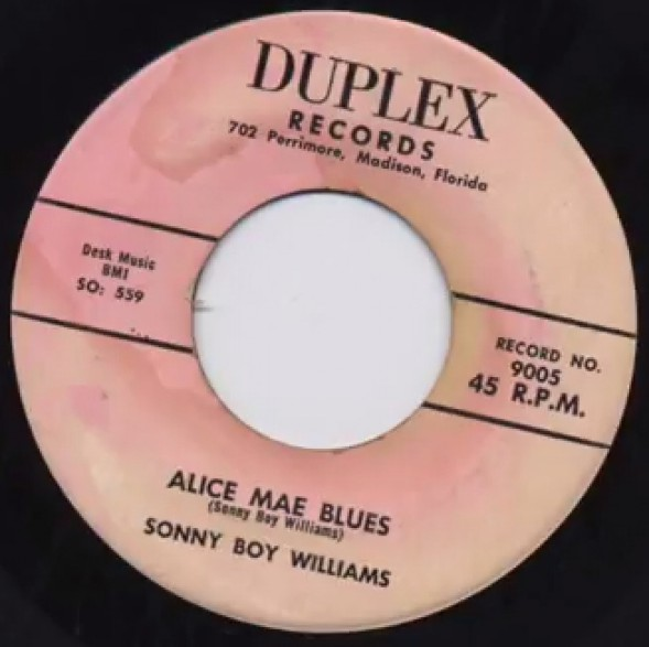 """SONNY BOY WILLIAMS """"Alice Mae Blues/Opossum Rock"""" 7"""""""