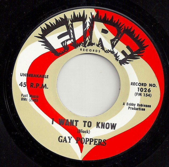 """GAY POPPERS """"I WANT TO KNOW / I'VE GOT IT"""" 7"""""""