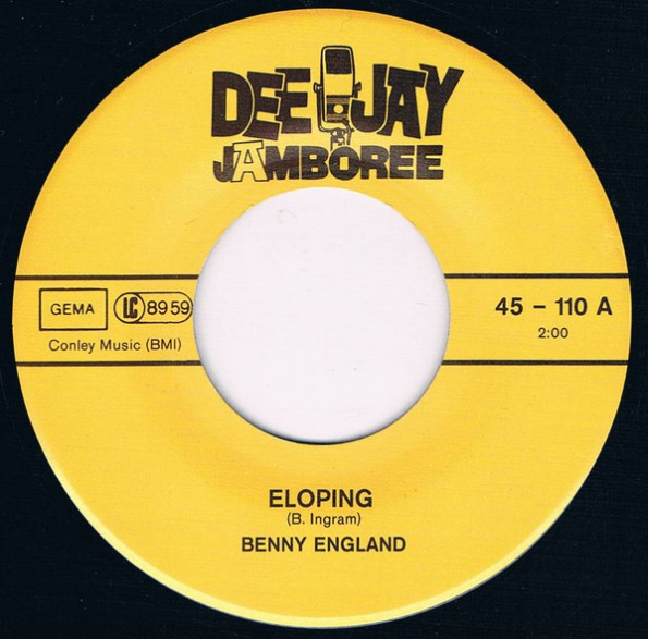 """BENNY ENGLAND """"Elopin'/ Some How"""" 7"""""""