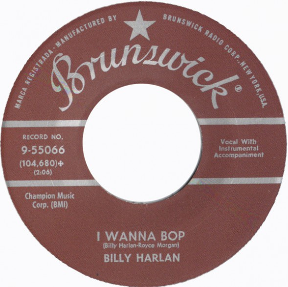 "Billy Harlan ‎""School House Rock / I Wanna Bop"" 7"""