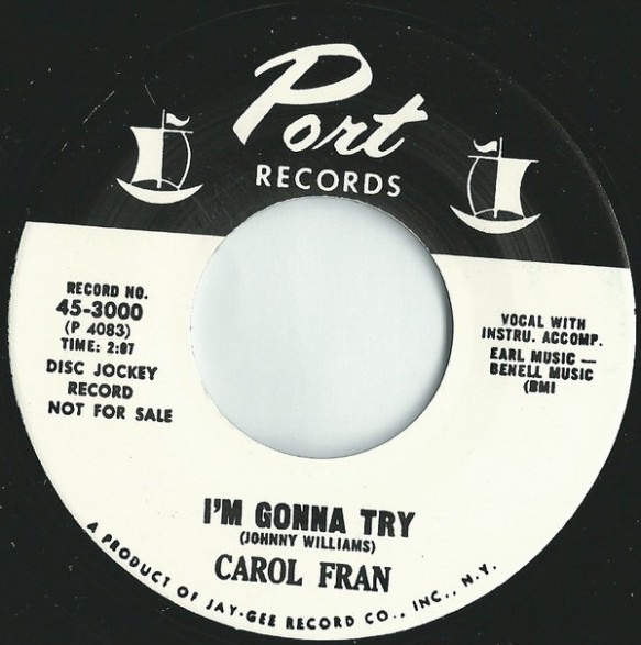 """CAROL FRAN """"I'M GONNA TRY/CRYING IN THE CHAPEL"""" 7"""""""