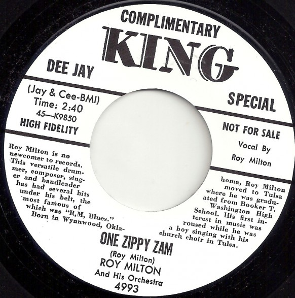 "ROY MILTON ""ONE ZIPPY ZAM / YOU'RE GONNA SUFFER BABY"" 7"""
