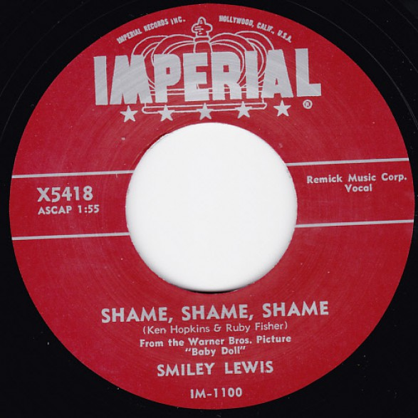 "SMILEY LEWIS ""SHAME SHAME SHAME/ NO NO"" 7"""