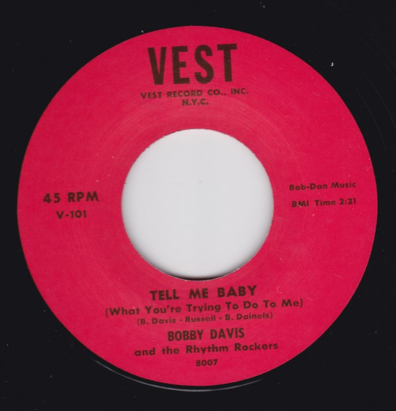 """BOBBY DAVIS """"GOING TO NEW ORLEANS / TELL ME BABY"""" 7"""""""