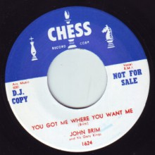 "John Brim & His Gary Kings ‎""I Would Hate To See You Go/You Got Me Where You Want Me"" 7"""