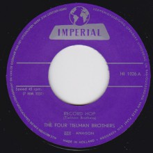 "FOUR TIELMAN BROTHERS ""Record Hop/ Swing It Up"" 7"""
